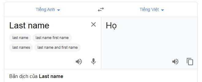 Last name có nghĩa là họ trong họ và tên của bạn